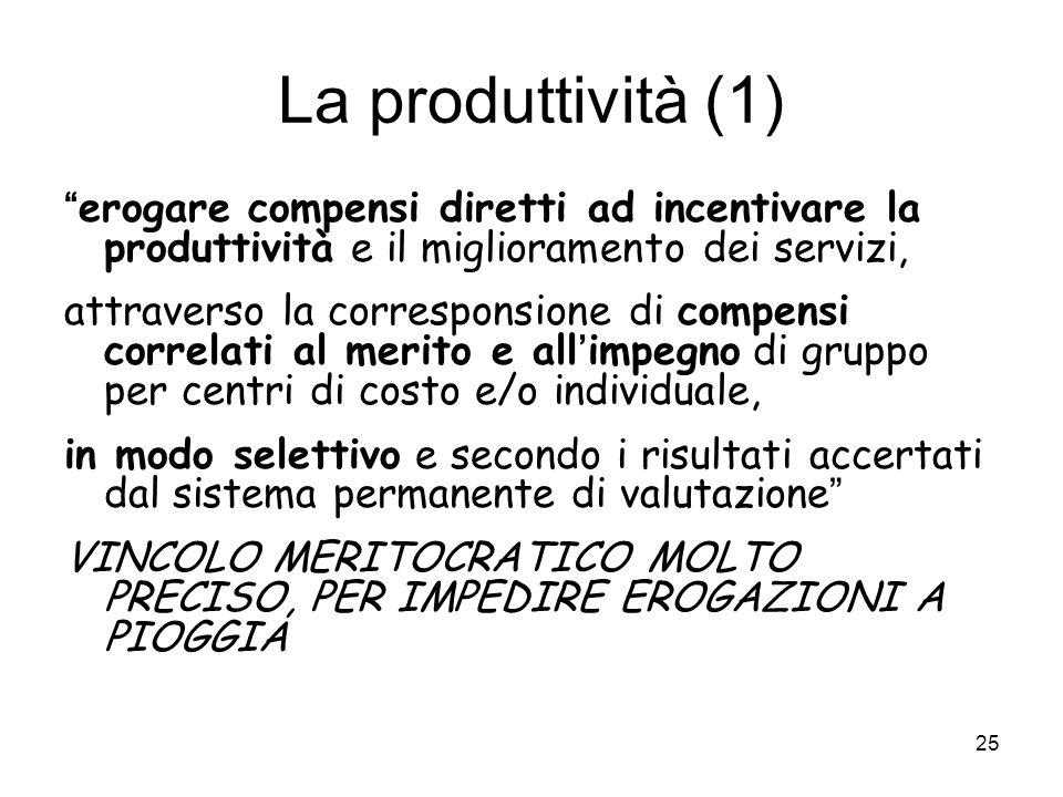 La produttività (1) erogare compensi diretti ad incentivare la produttività e il miglioramento dei servizi,