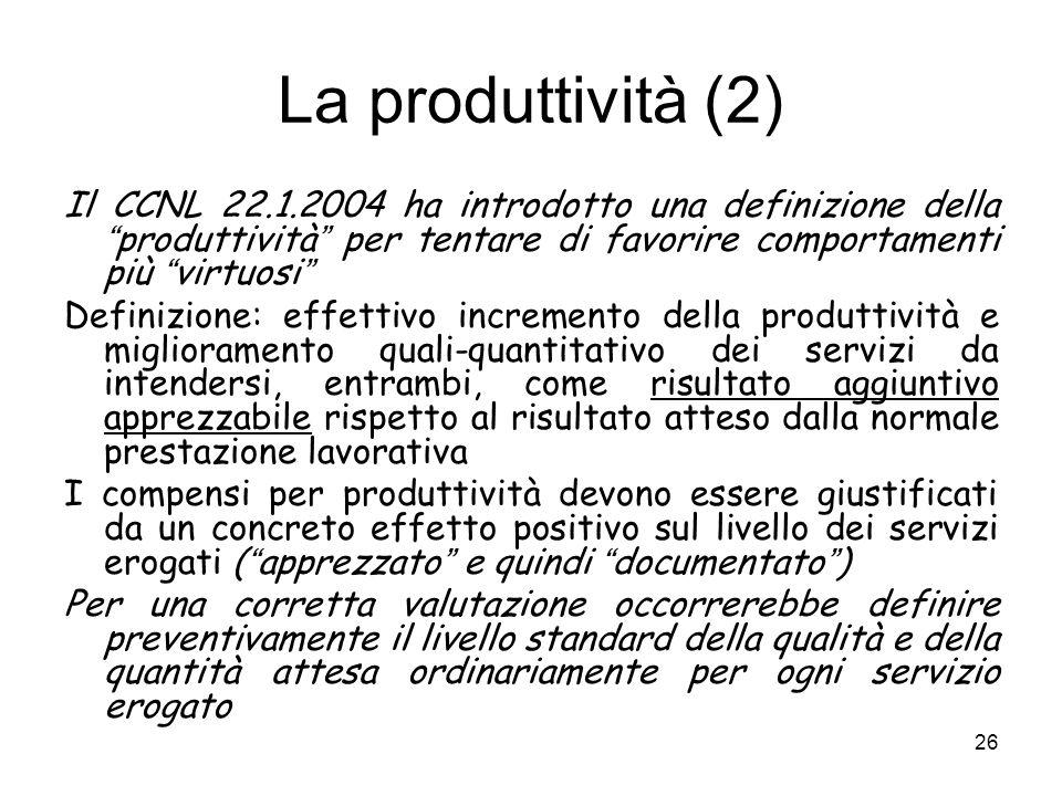 La produttività (2) Il CCNL 22.1.2004 ha introdotto una definizione della produttività per tentare di favorire comportamenti più virtuosi
