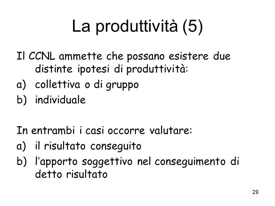 La produttività (5) Il CCNL ammette che possano esistere due distinte ipotesi di produttività: collettiva o di gruppo.