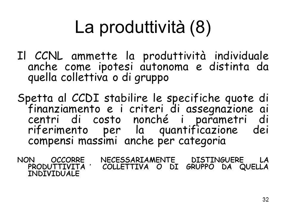 La produttività (8) Il CCNL ammette la produttività individuale anche come ipotesi autonoma e distinta da quella collettiva o di gruppo.