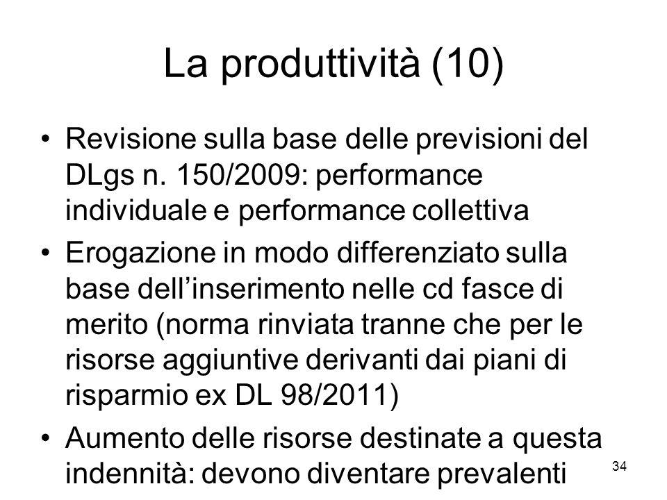La produttività (10) Revisione sulla base delle previsioni del DLgs n. 150/2009: performance individuale e performance collettiva.