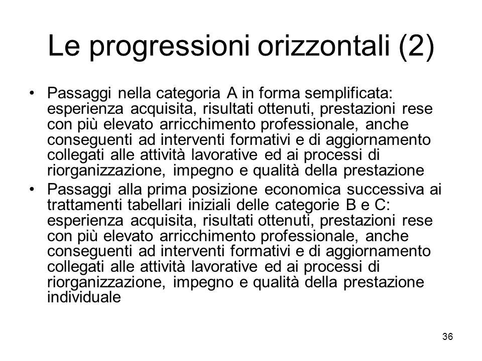 Le progressioni orizzontali (2)