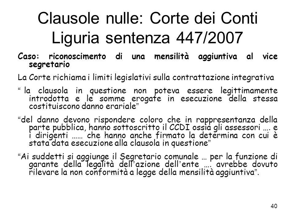 Clausole nulle: Corte dei Conti Liguria sentenza 447/2007
