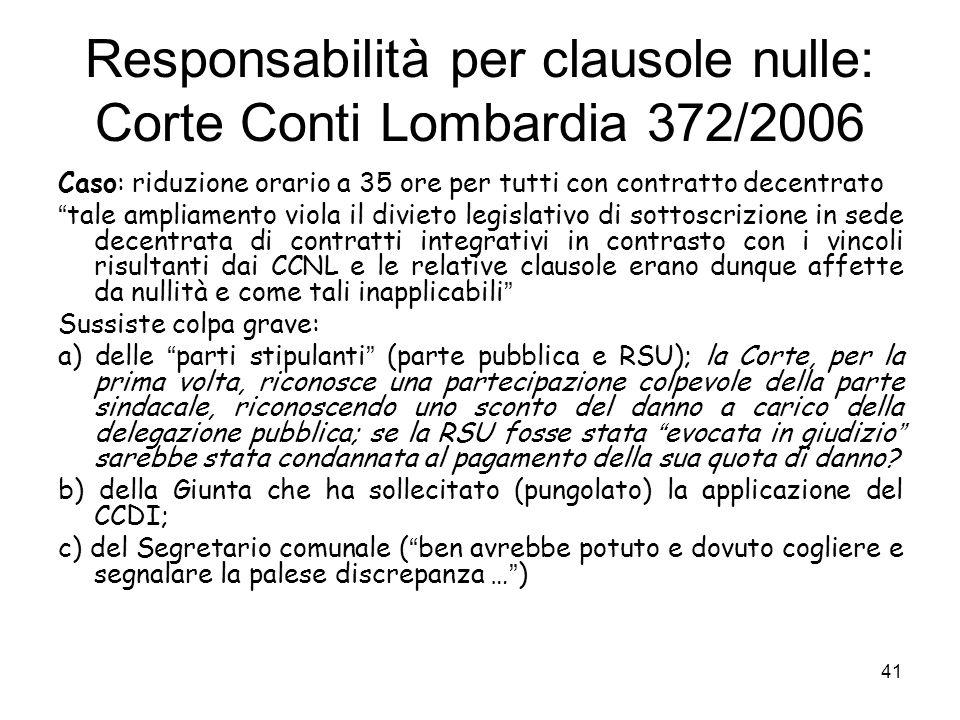 Responsabilità per clausole nulle: Corte Conti Lombardia 372/2006