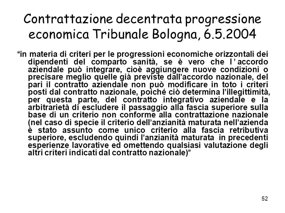 Contrattazione decentrata progressione economica Tribunale Bologna, 6