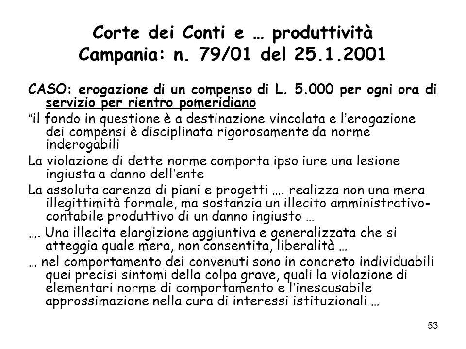Corte dei Conti e … produttività Campania: n. 79/01 del 25.1.2001