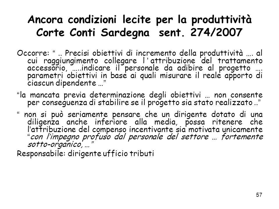 Ancora condizioni lecite per la produttività Corte Conti Sardegna sent