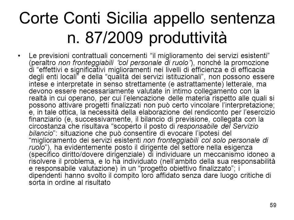 Corte Conti Sicilia appello sentenza n. 87/2009 produttività