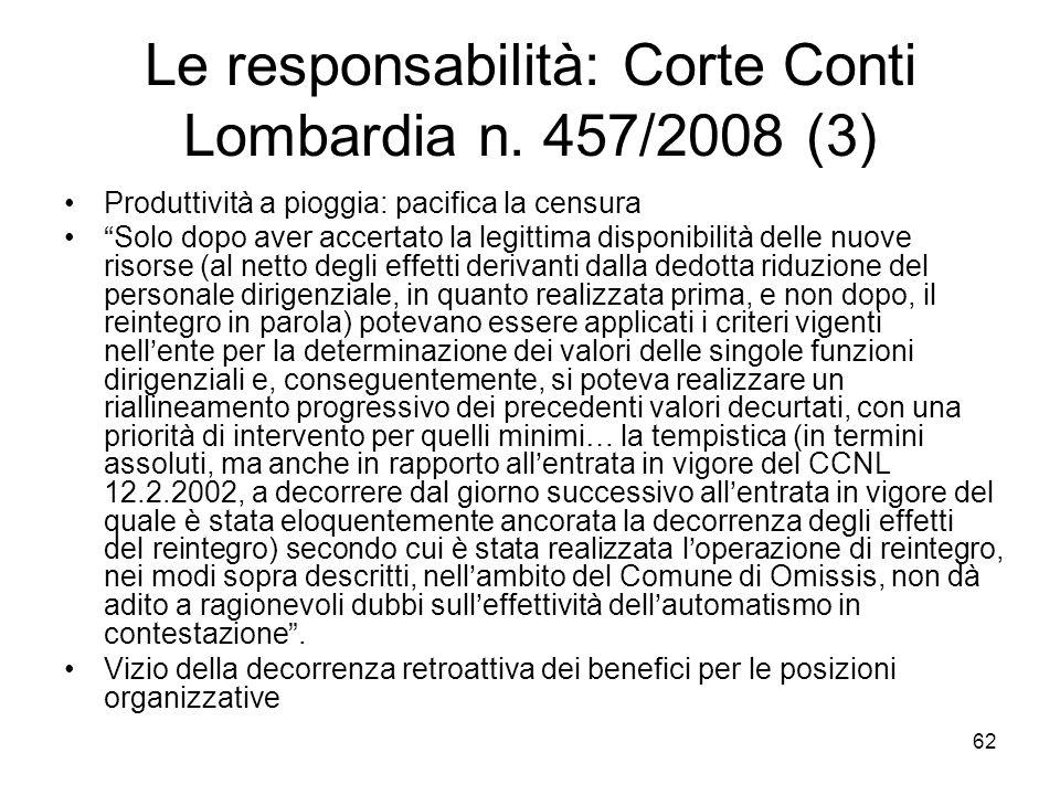 Le responsabilità: Corte Conti Lombardia n. 457/2008 (3)