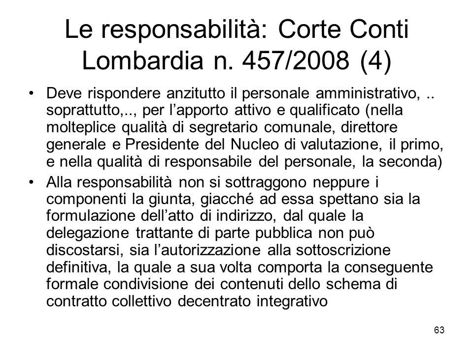 Le responsabilità: Corte Conti Lombardia n. 457/2008 (4)