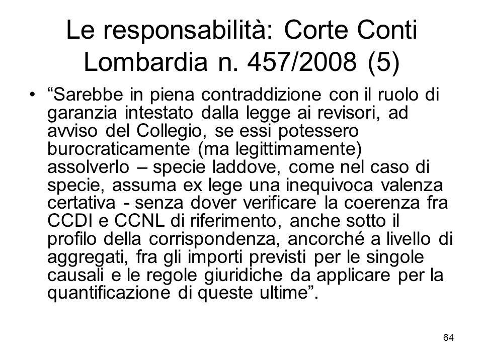 Le responsabilità: Corte Conti Lombardia n. 457/2008 (5)