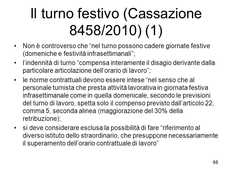 Il turno festivo (Cassazione 8458/2010) (1)