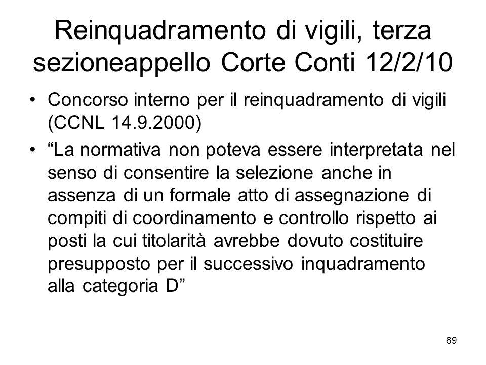 Reinquadramento di vigili, terza sezioneappello Corte Conti 12/2/10
