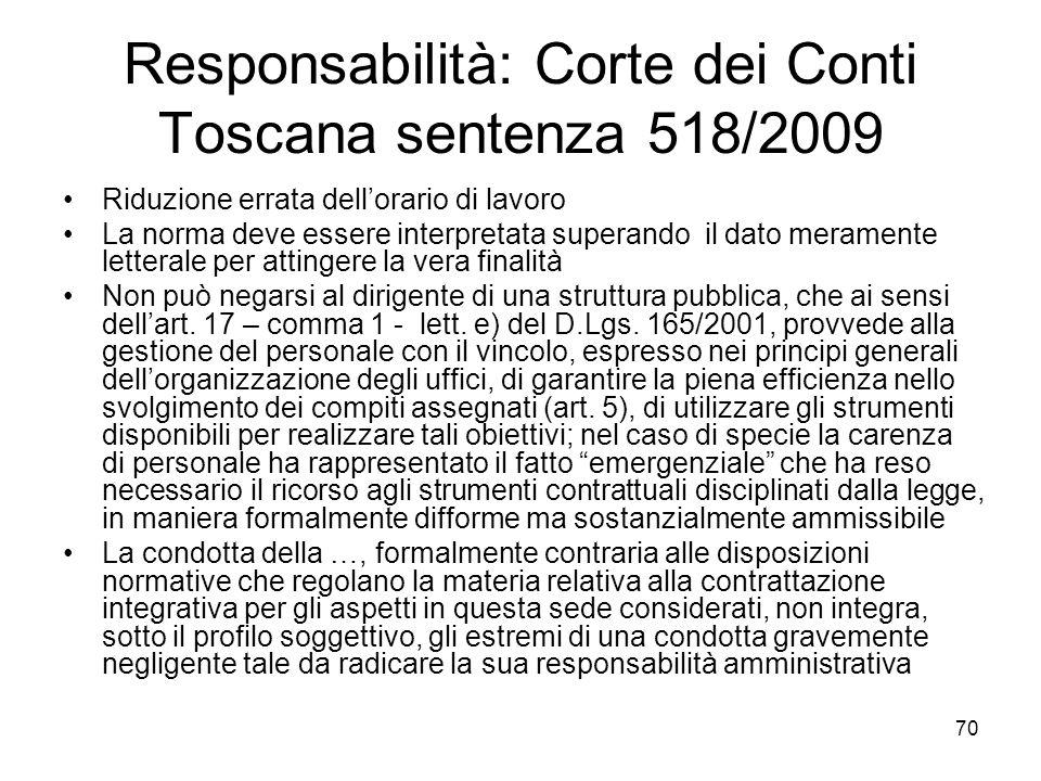 Responsabilità: Corte dei Conti Toscana sentenza 518/2009