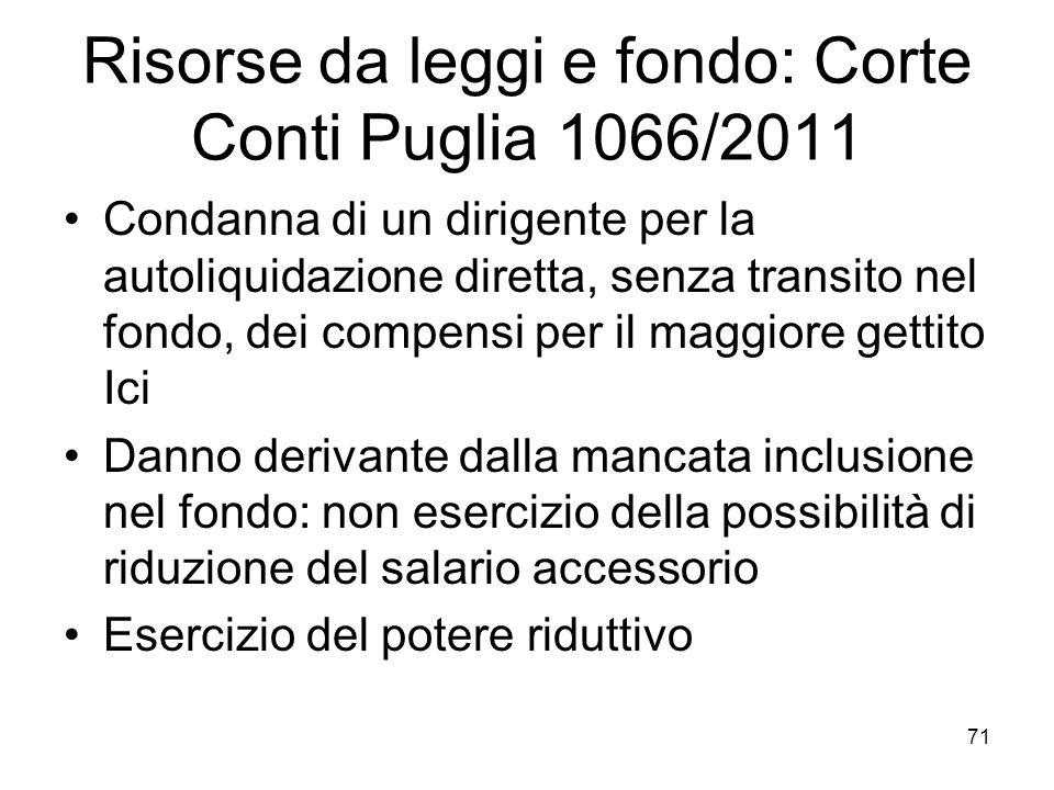Risorse da leggi e fondo: Corte Conti Puglia 1066/2011