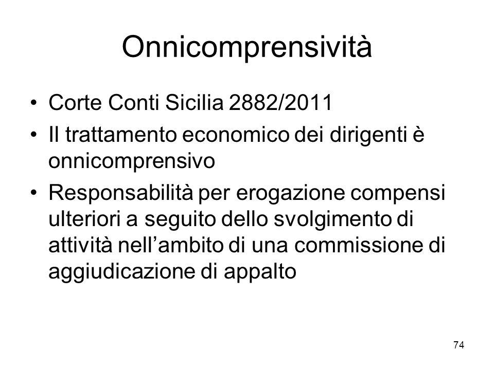 Onnicomprensività Corte Conti Sicilia 2882/2011