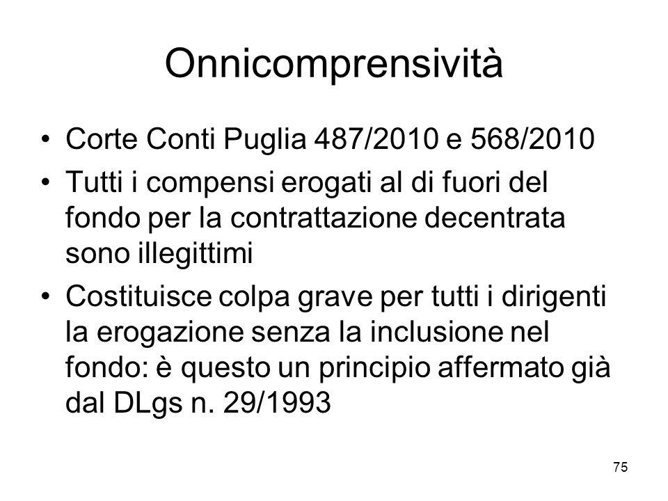 Onnicomprensività Corte Conti Puglia 487/2010 e 568/2010