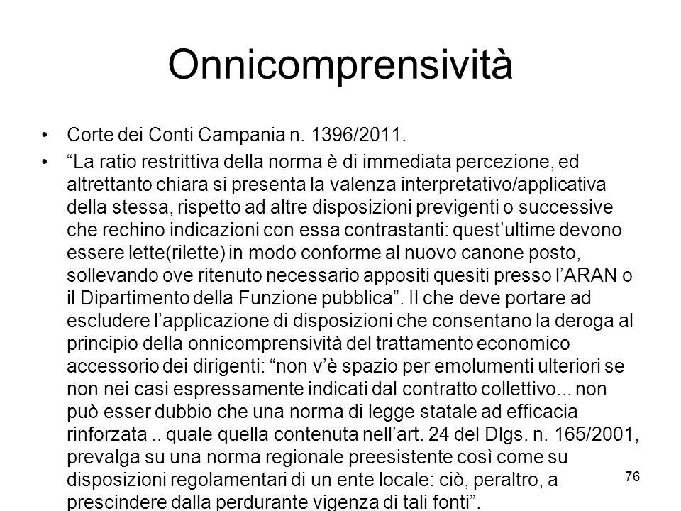 Onnicomprensività Corte dei Conti Campania n. 1396/2011.