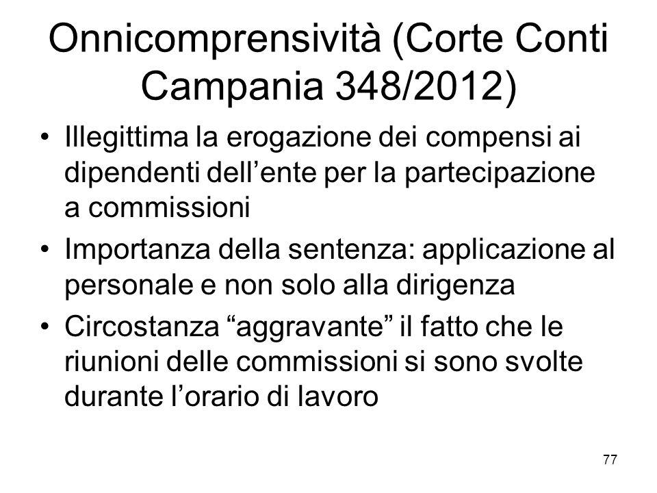 Onnicomprensività (Corte Conti Campania 348/2012)