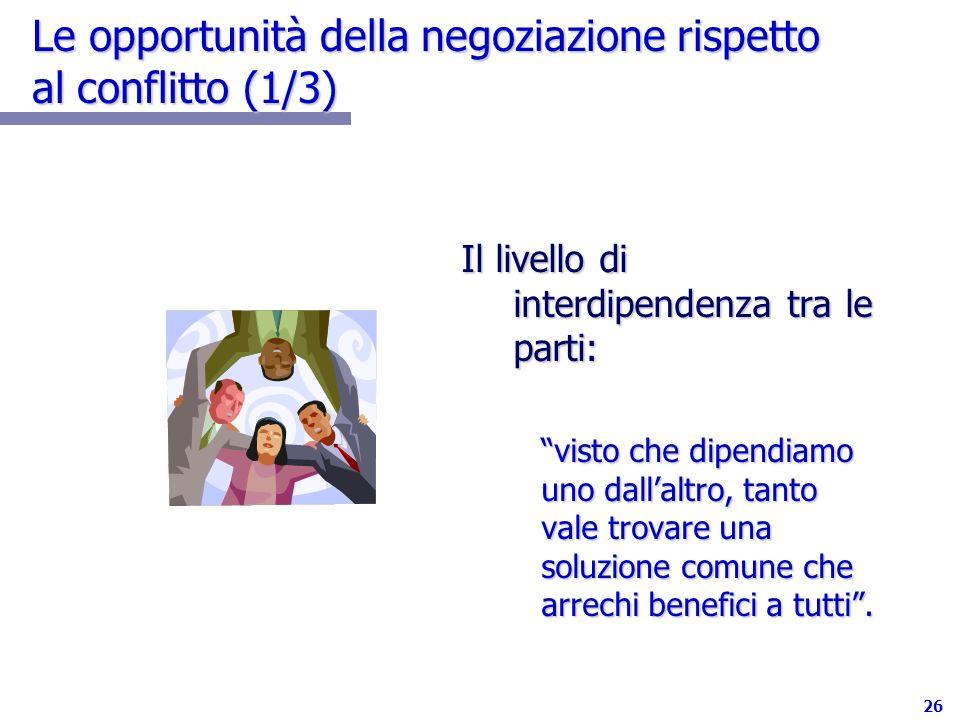 Le opportunità della negoziazione rispetto al conflitto (1/3)