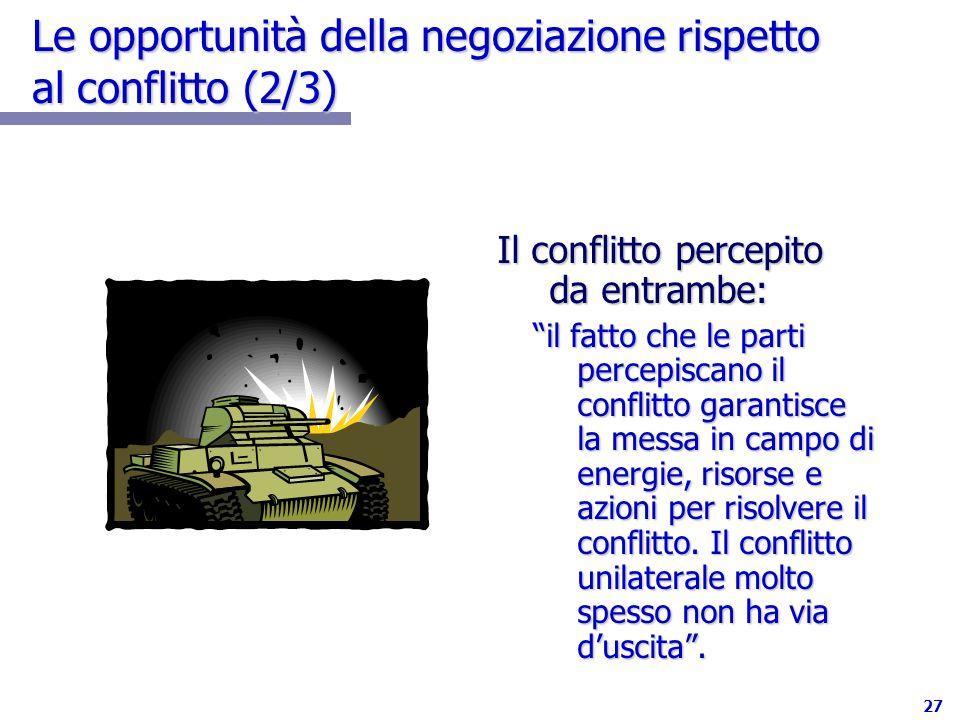 Le opportunità della negoziazione rispetto al conflitto (2/3)