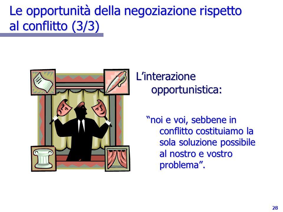 Le opportunità della negoziazione rispetto al conflitto (3/3)