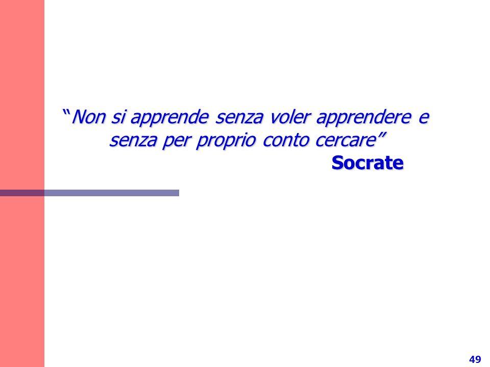 Non si apprende senza voler apprendere e senza per proprio conto cercare Socrate