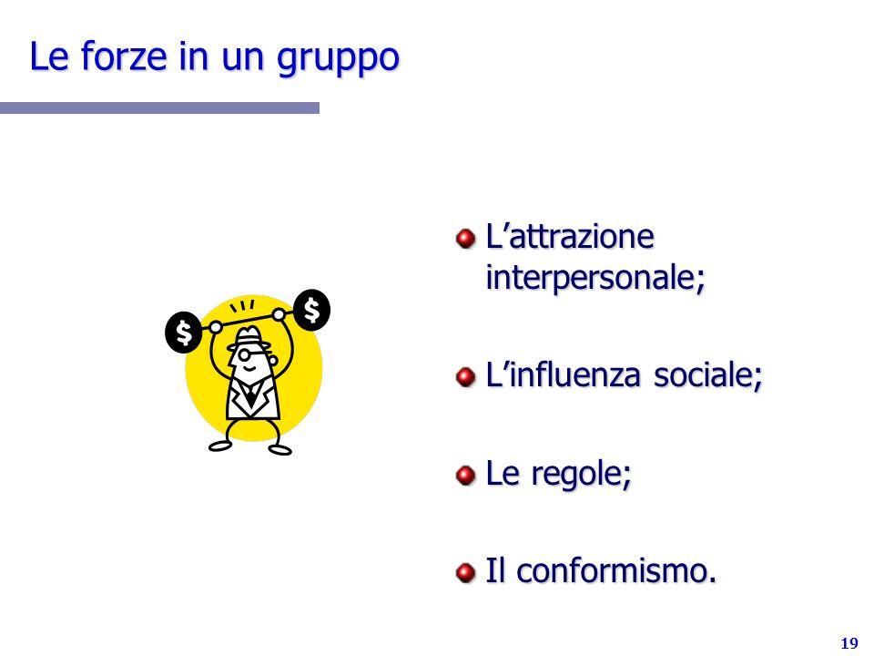 Le forze in un gruppo L'attrazione interpersonale;