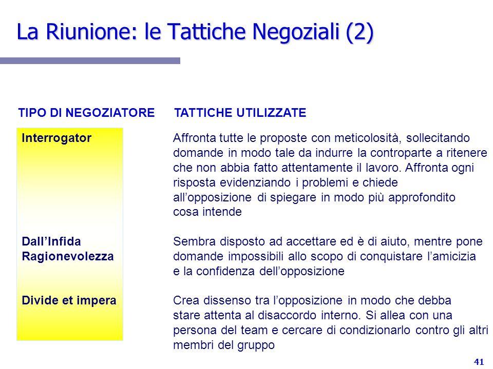 La Riunione: le Tattiche Negoziali (2)