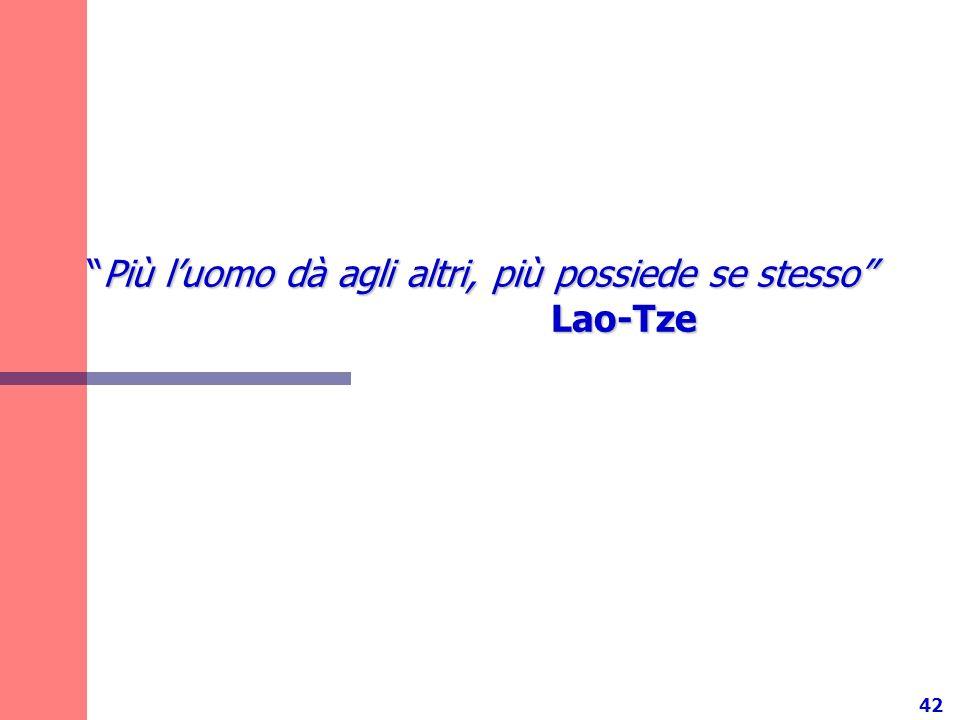 Più l'uomo dà agli altri, più possiede se stesso Lao-Tze