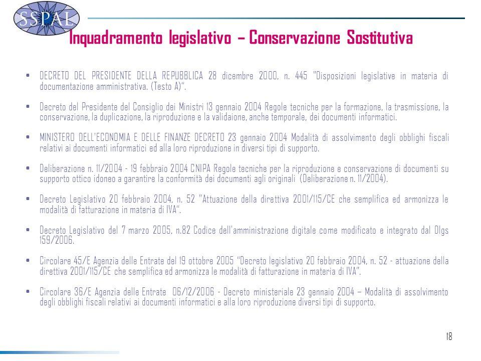 Inquadramento legislativo – Conservazione Sostitutiva