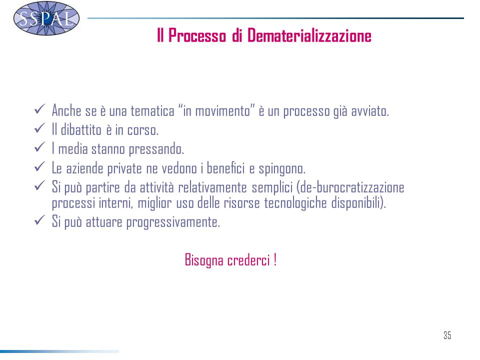 Il Processo di Dematerializzazione