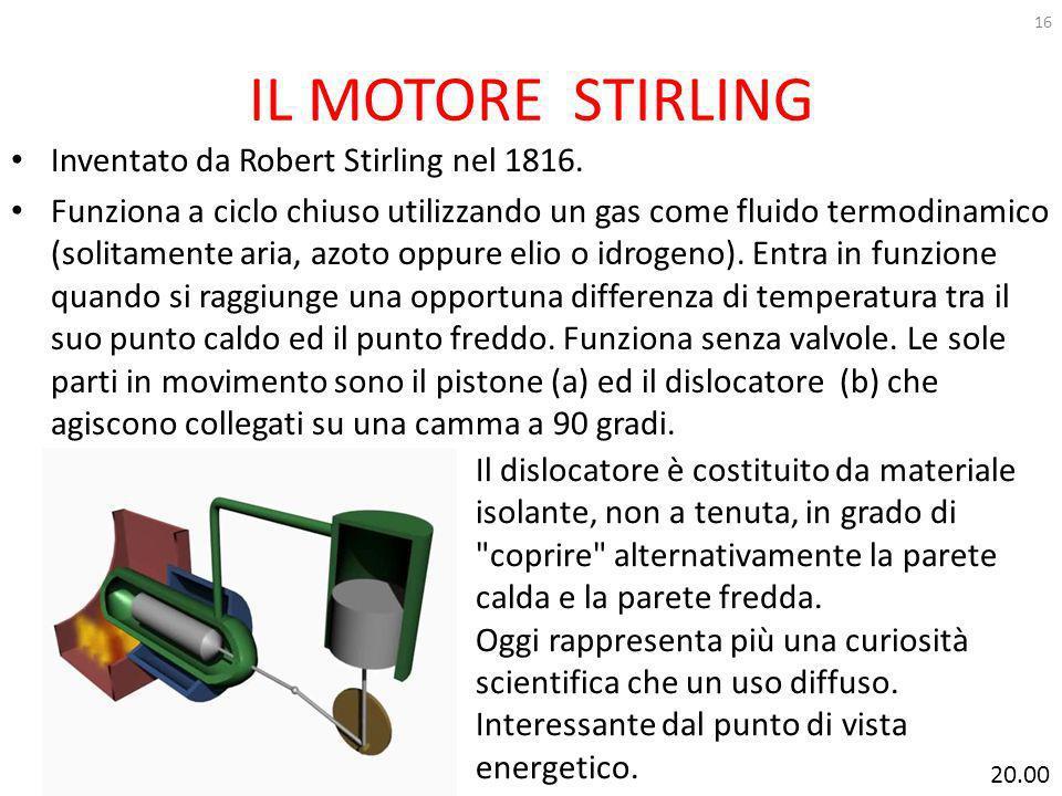 IL MOTORE STIRLING Inventato da Robert Stirling nel 1816.
