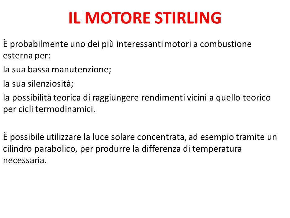 IL MOTORE STIRLING È probabilmente uno dei più interessanti motori a combustione esterna per: la sua bassa manutenzione;