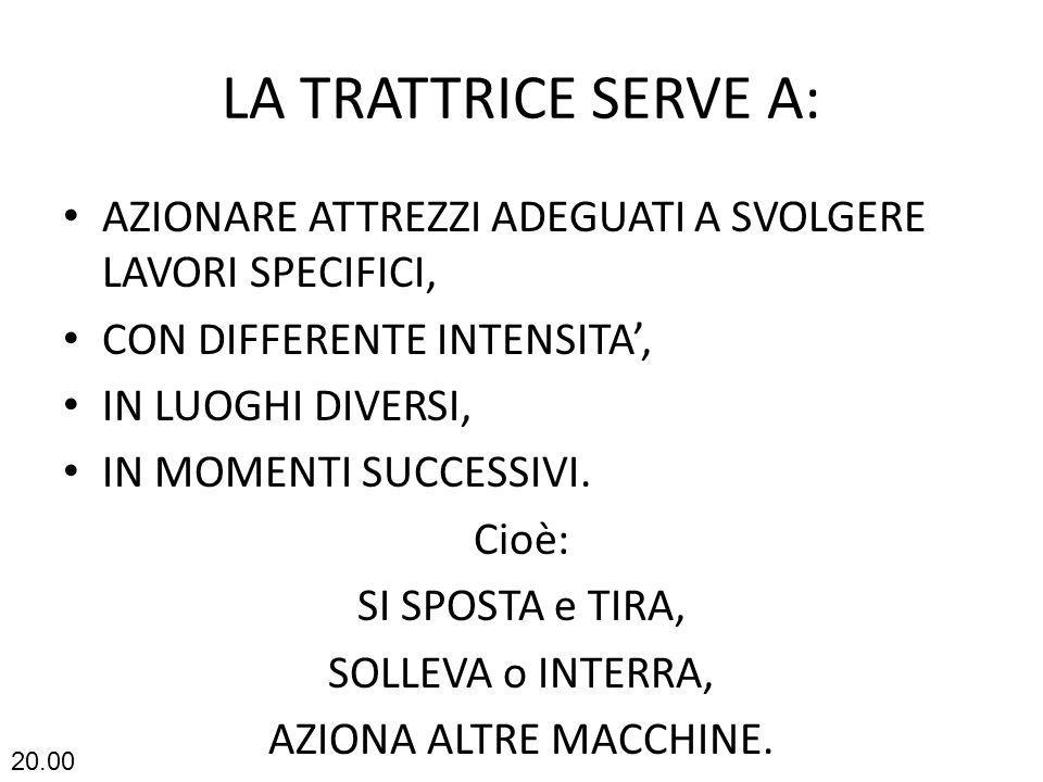 LA TRATTRICE SERVE A: AZIONARE ATTREZZI ADEGUATI A SVOLGERE LAVORI SPECIFICI, CON DIFFERENTE INTENSITA',