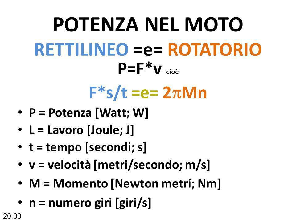 POTENZA NEL MOTO RETTILINEO =e= ROTATORIO