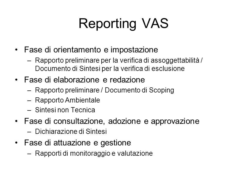 Reporting VAS Fase di orientamento e impostazione