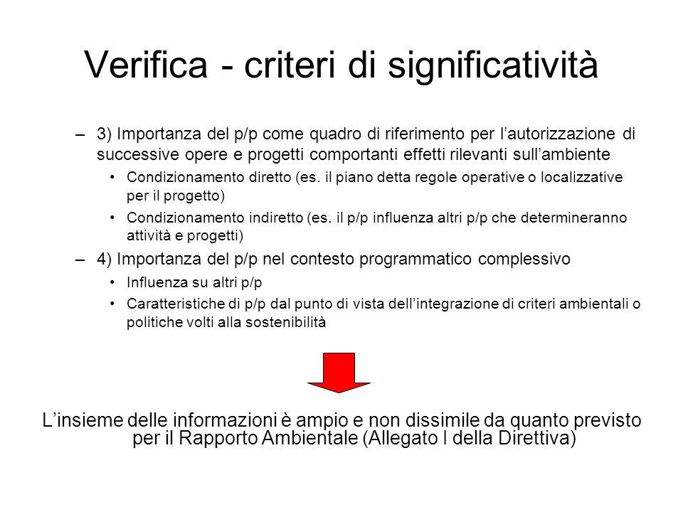 Verifica - criteri di significatività