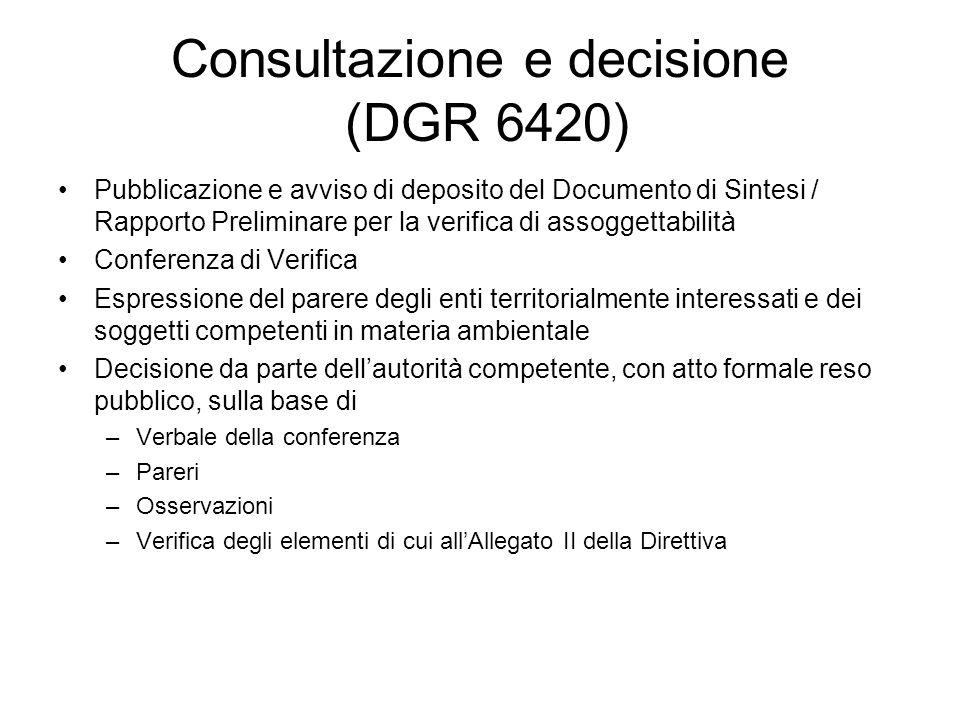 Consultazione e decisione (DGR 6420)