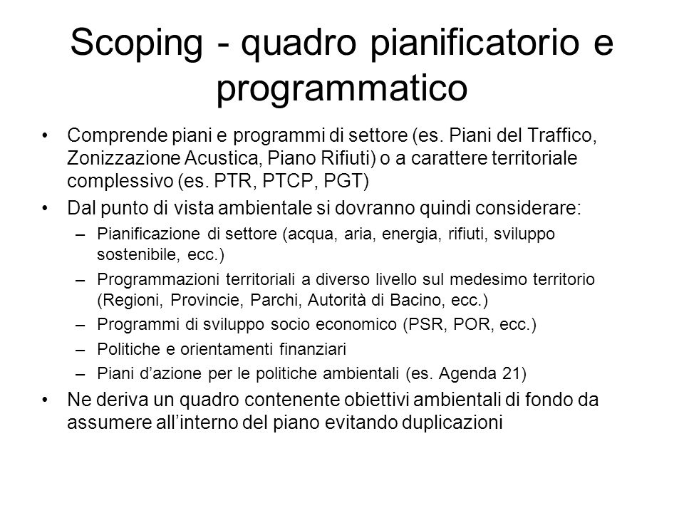Scoping - quadro pianificatorio e programmatico