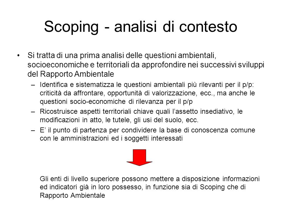 Scoping - analisi di contesto