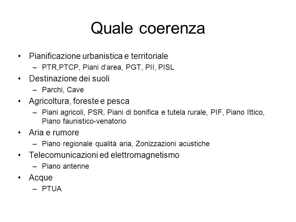 Quale coerenza Pianificazione urbanistica e territoriale