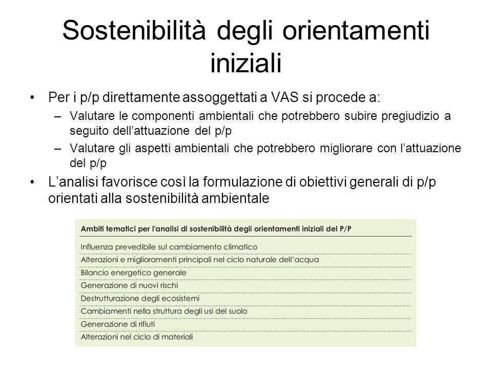 Sostenibilità degli orientamenti iniziali