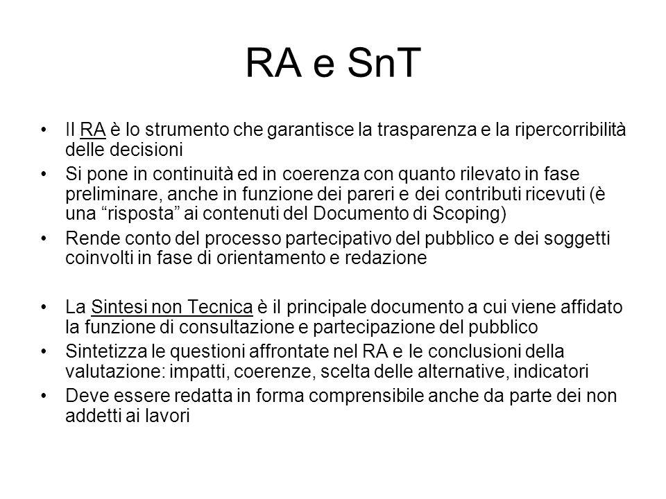 RA e SnT Il RA è lo strumento che garantisce la trasparenza e la ripercorribilità delle decisioni.