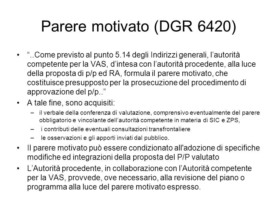 Parere motivato (DGR 6420)