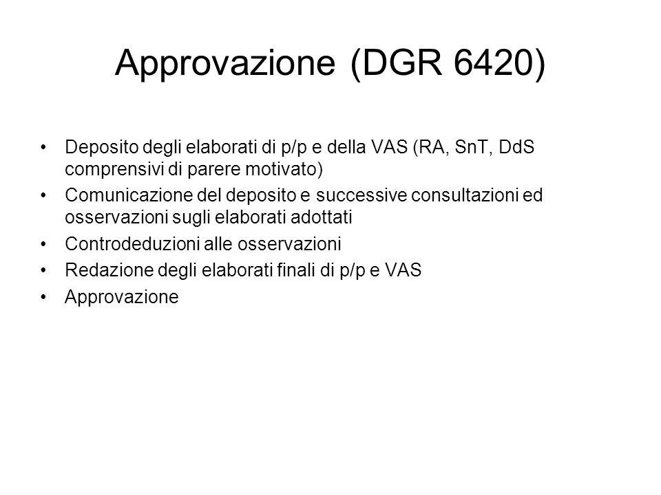 Approvazione (DGR 6420)Deposito degli elaborati di p/p e della VAS (RA, SnT, DdS comprensivi di parere motivato)