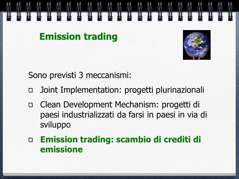 Emission trading Sono previsti 3 meccanismi: