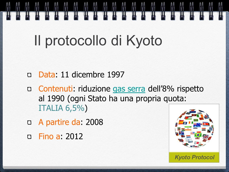 Il protocollo di Kyoto Data: 11 dicembre 1997