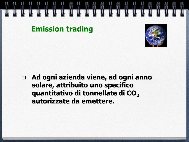 Emission trading Ad ogni azienda viene, ad ogni anno solare, attribuito uno specifico quantitativo di tonnellate di CO2 autorizzate da emettere.