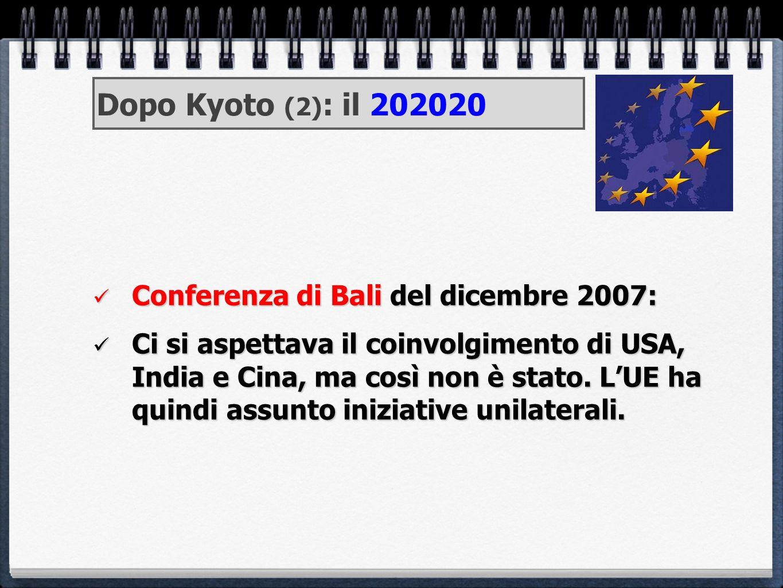 Dopo Kyoto (2): il 202020 Conferenza di Bali del dicembre 2007:
